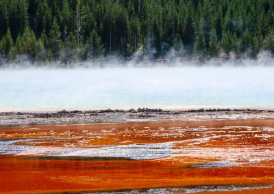 red steam at Grand Prismatic Spring